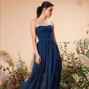 NWT dress the population navy blue strapless gown